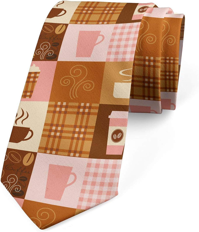 Lunarable Men's Tie, Vintage Style Coffee Cups, Necktie, 3.7