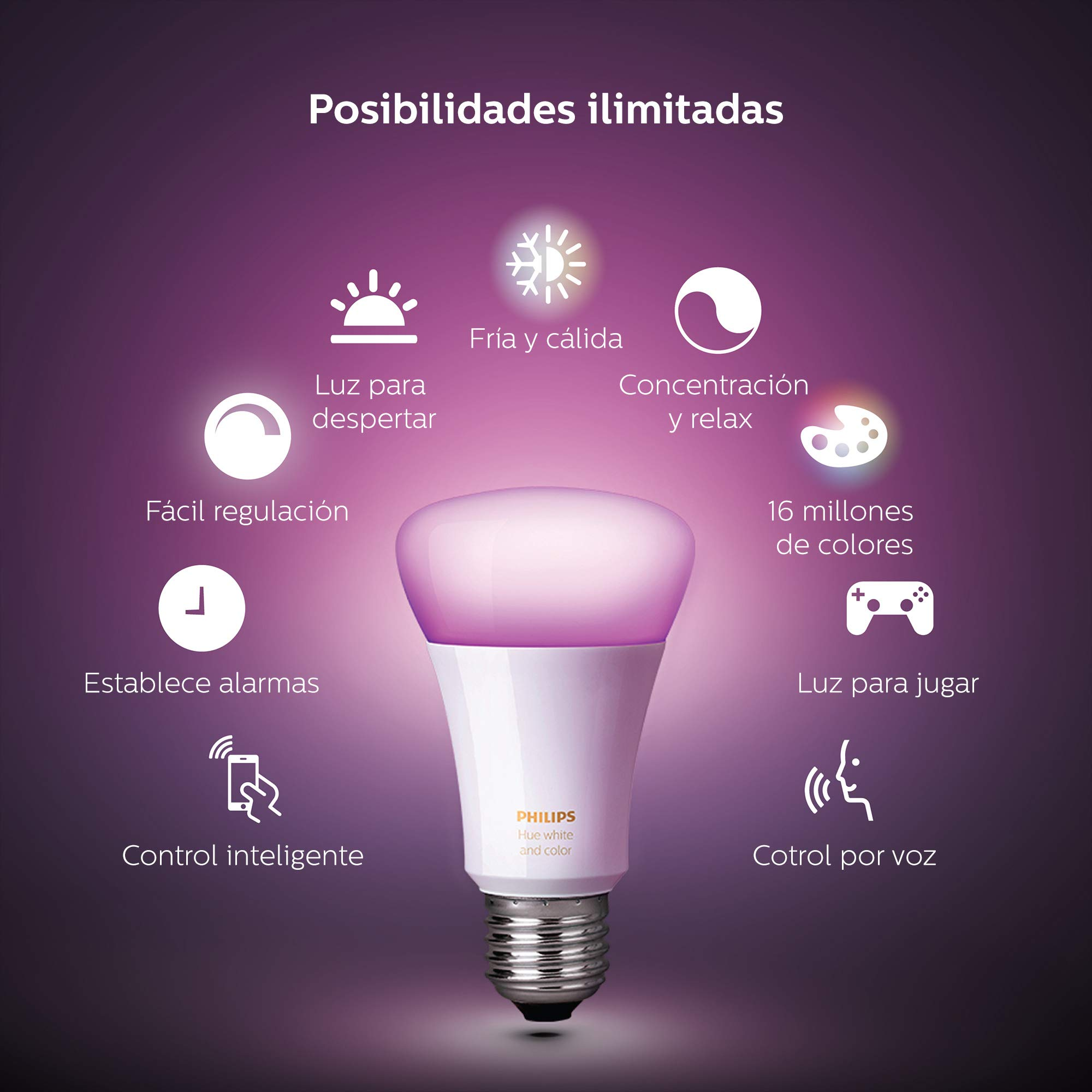 Philips Hue Pack 2 Bombillas Inteligentes LED E27, 9.5 W, Luz ...