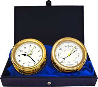 """MASTER-MARINER Patriot Collection, Nautical Windlass Gift Set, 5.85"""" Diameter Clock and Barometer Instruments, Gold Finish, Ivory Patriot dial"""