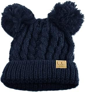 Kids Ages 2-7 Pom Pom Ears Chunky Thick Stretchy Knit Soft Beanie Hat