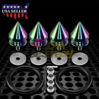 JDMBESTBOY JDM Neo Chrome Spiked Quick Release Fasteners for Car Bumpers Trunk Fender Hatch Lids Kit from