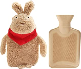 ZAILHWK Couple Hot Water Bottle,Hand Warmer Water Bag with Cute Stuffed Animal Cover Cartoon Hand Warmer for Winter