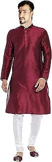 Lakkar Haveli Indian Men's Silk Kurta Casual Tunic Ethnic Maroon Shirt Plus Size