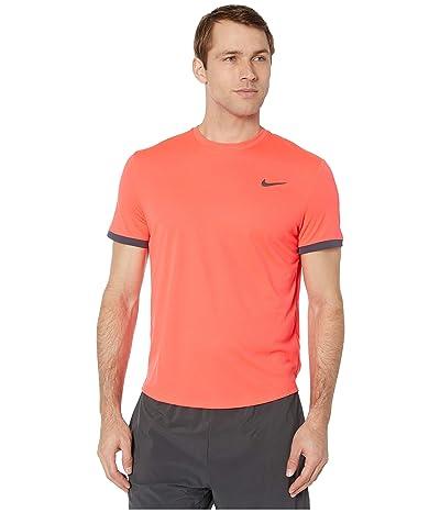 Nike NikeCourt Dri-FIT Short Sleeve Tennis Top (Laser Crimson/Gridiron/Gridiron) Men