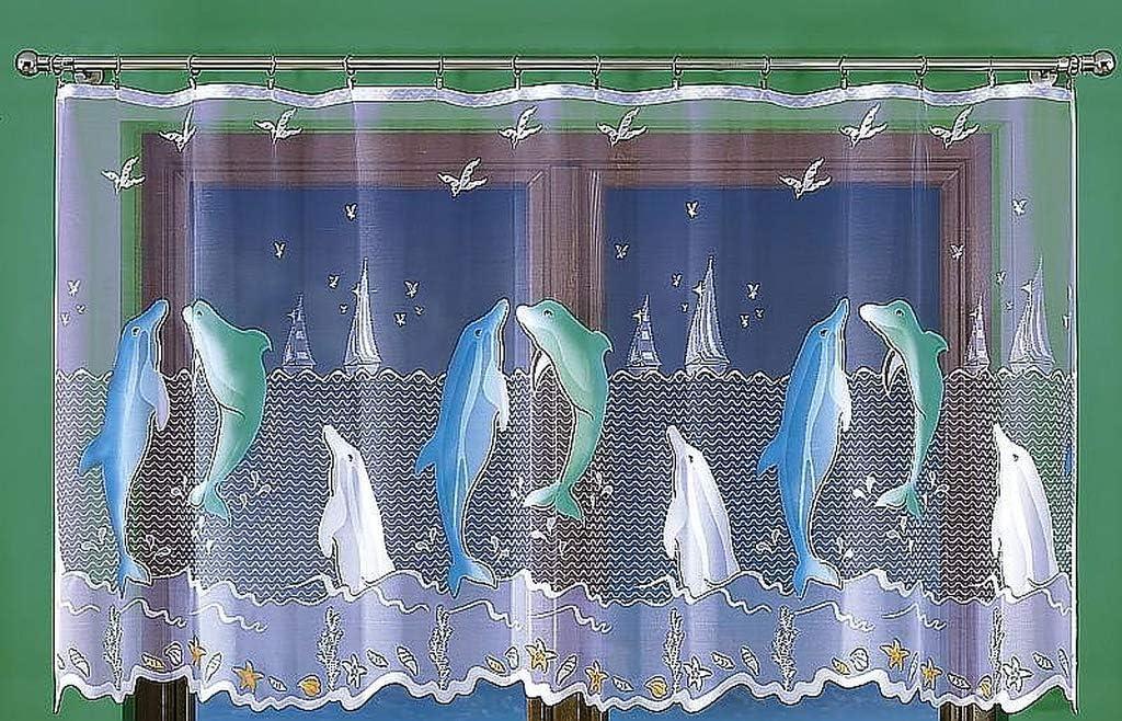 Voilage peint /à la main avec dauphins D/écoration de fen/être 300 x 120 cm