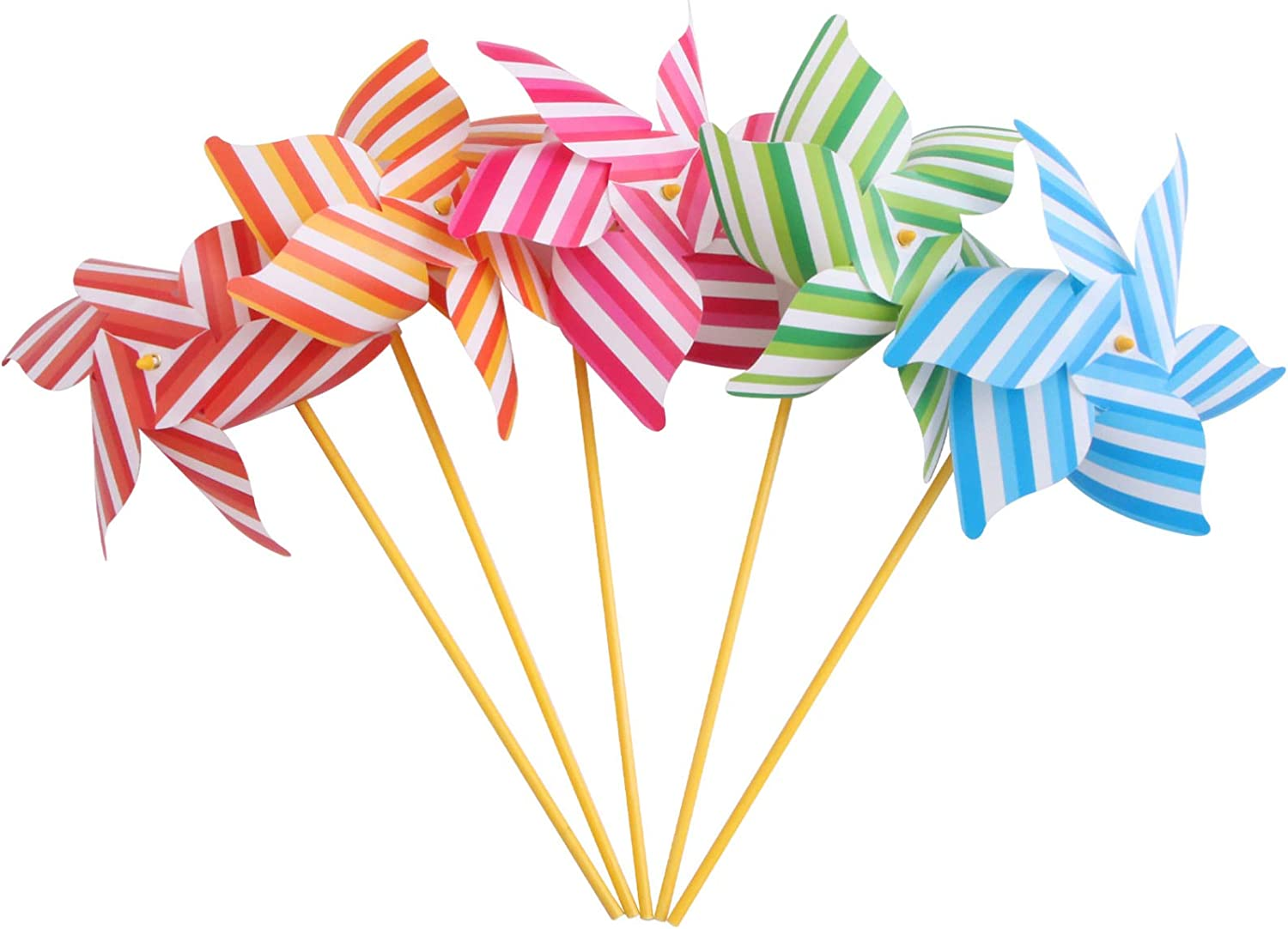 Yardwe Colorful Raleigh Mall Pinwheels Striped Stakes Garden Free shipping anywhere in the nation Decorative 30CM