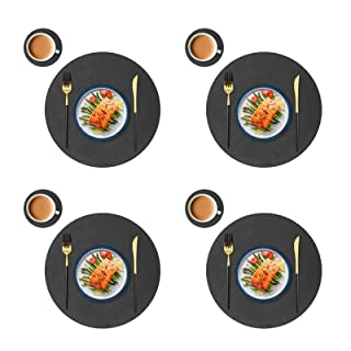 JTX Round Placemats for Dining Table, Set of 4 Leather Placemats and 4 Coasters for Drinks, Easy Clean Heat & Stain Resist...