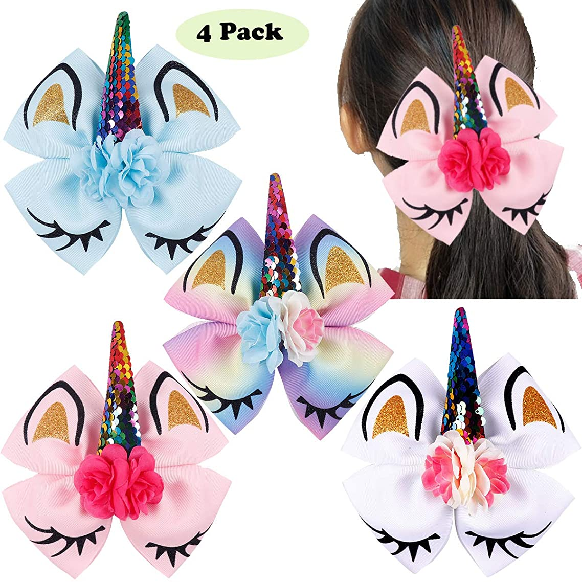 4Pcs 6Inch Large Big Unicorn Hair Bows Glitter Sparkly Cheer Bows Alligator Hair Clips Hair Accessories for Girls Toddlers Kids Children Teens