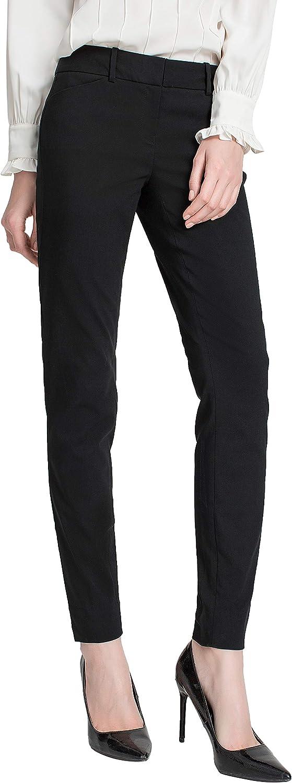 SATINATO Women's Casual Work Pants Skinny Slacks Leggings Comfort Mid Rise
