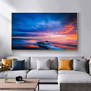 """Landscape Canvas Wall Art Painting Sunset Beach Posters Sea Art prints Wall Picture for Living Room Home Decor 27.5""""x49.2""""..."""