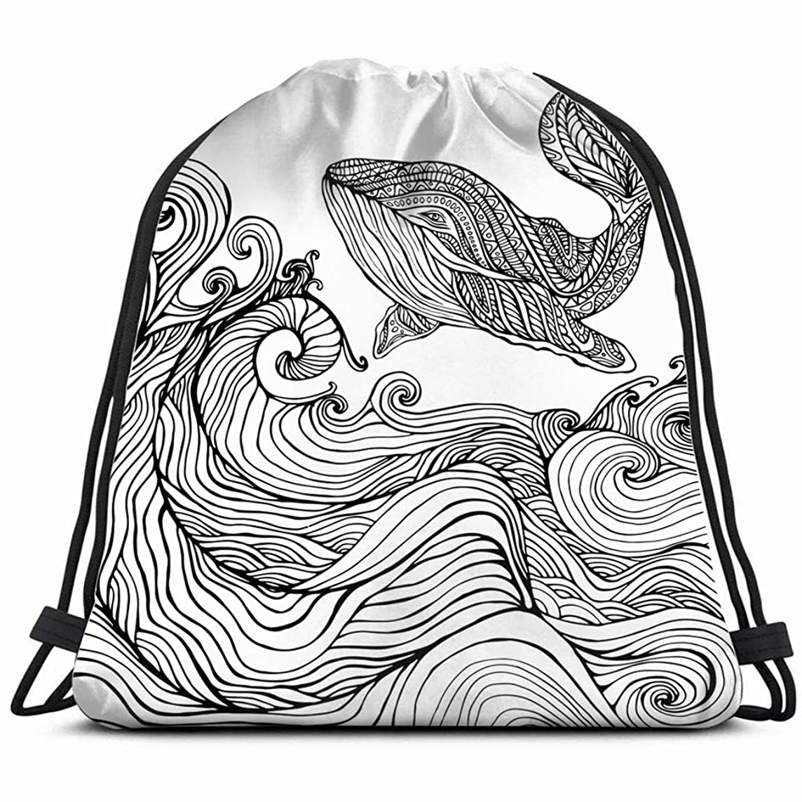 whale ocean waves coloring page children animals wildlife Drawstring Backpack Bag Gym sack Sport Beach Daypack for Girls Men & Women Teen Dance Bag Cycling Hiking Team Training 17X14 Inch