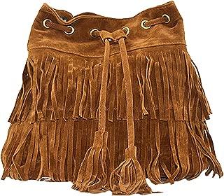 Women's Fringed Bucket Purse Tassel Faux Suede Shoulder Bag Ring Top-Handle Crossbody Bag