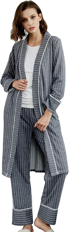 Epinmammy Women's 3 Piece Maternity Nursing Pajama Set Breastfeeding Top Pants Nursing Robe Belt