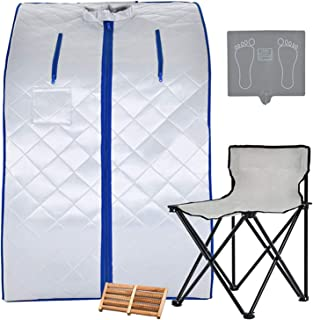 KUPPET Portable Infrared Home Spa, Infrared Portable Sauna, with Heating Foot Pad and Chair, Remote Control, 30 Minutes Timer (Infrared 36.6''H,Silver) (Infrared 36.6''H,Silver)