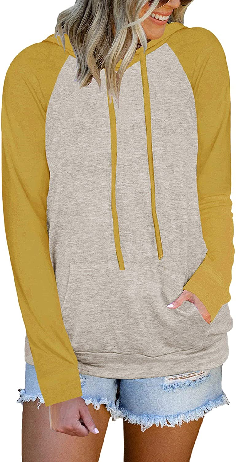 ADREAMLY Womens Color Block Hoodie Lightweight Long Sleeve Drawstring Pullover Loose Sweatshirt Tops with Pocket