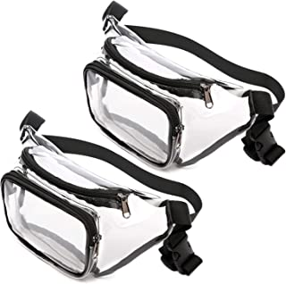 Clear Fanny Pack 2 Pack, BuyAgain Stadium Approved Waterproof Fanny Pack Transparent Waist Pack for Women Men, Black