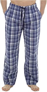 HiA Direct Mens Single Pyjama Check Polycotton Lounge Pants Elasticated Waist Two Pockets Boys Durable Drawstring Fasten C...
