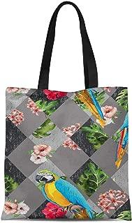 S4Sassy Gray Floral Tropical Bird Printed Re-Usable Tote Bag Women Shoulder Handbag Travel Shopping Bag 16x12 Inches