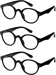 Reading Glasses 3 Pair Spring Hinge Professer Readers for Men and Women Fashion Glasses for Reading