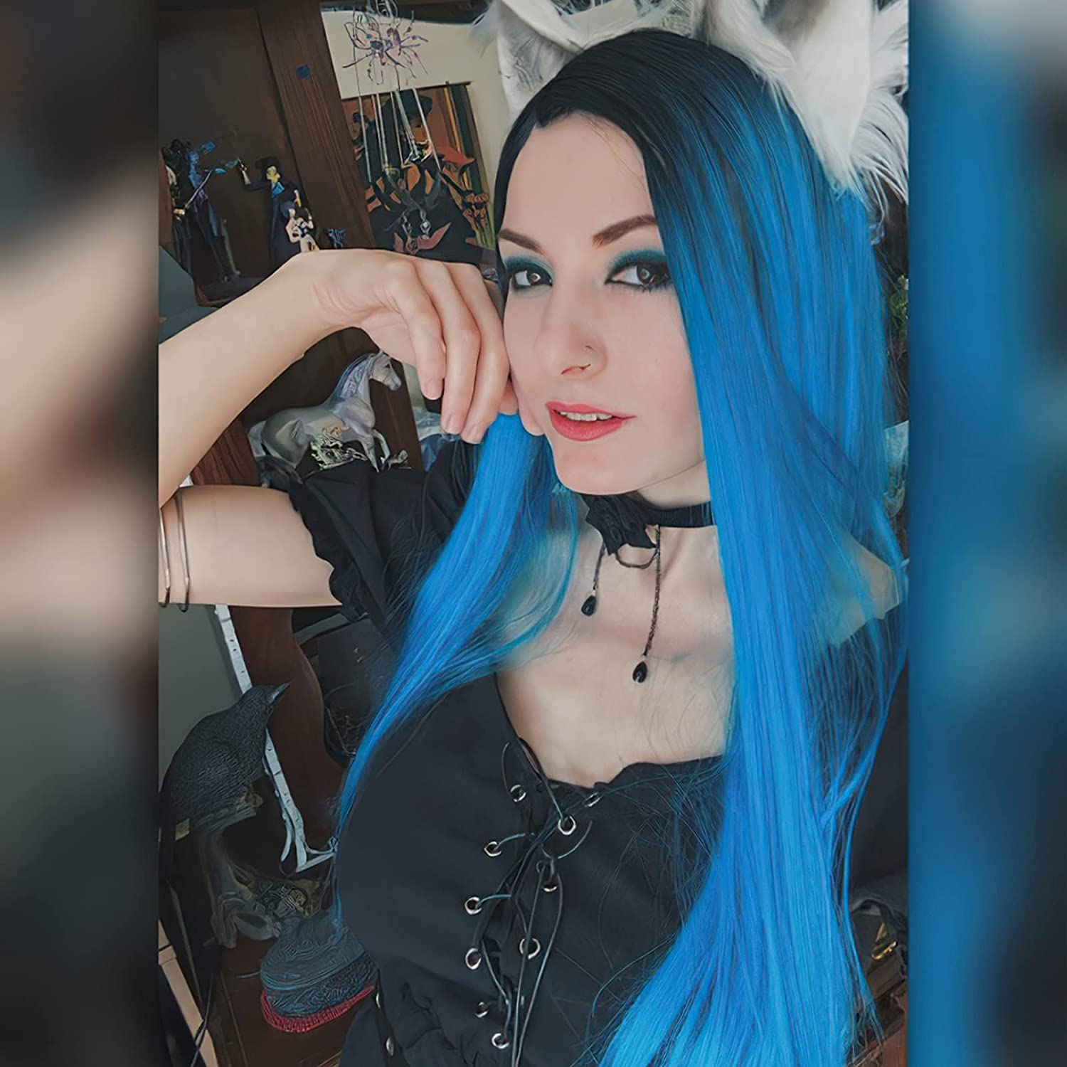 New product LuLu Limited price sale Haireate Long Blue Wig Colorful Straight Wigs for Synthetic