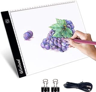 Winload Mesa de Luz Dibujo A4, 3,5 mm Delgado Copia de la Junta, Brillo Ajustable LED Tableta, Tableros de Dibujo LED Tracking Light Pad con cable USB para Artistas, Animación, Bocetos, Diseño, X-Ray