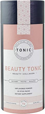 TONIC: Beauty Collagen Powder & Dietary Supplement for Healthy Skin, Nails & Hair, Anti Cellulite & Stretch Marks, Paleo + Keto Friendly, Unflavored, 20 Single Servings
