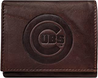 Rico Chicago Cubs MLB Distressed Look Embossed Logo Dark Brown Leather Trifold Wallet
