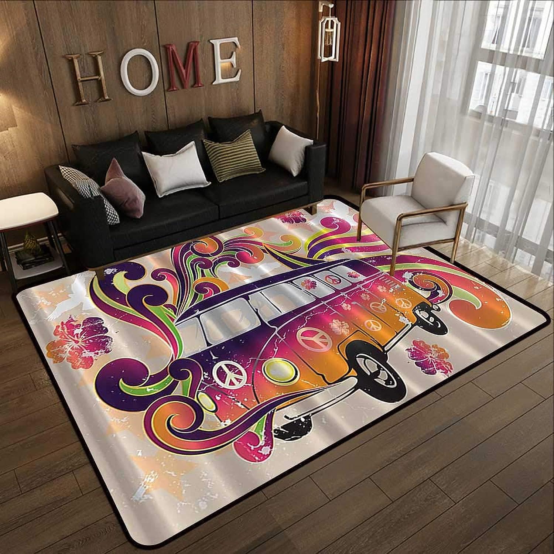 Carpet mat,Bohemian Hippie Boho,Peace Emblem Van Funny Minivan Explorer Caravan Paisley Antiqued Look Groovy,Beige Purple orange Ye 71 x 81.5  Floor Mat Entrance Doormat