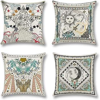 Artscope 4 Pack Funda de Almohada Algodón Lino para Cojín Cuadrado,Funda de Cojín 45 x45 cm Decorativo para Hogar Sofá Cama (Estrellas y Sol): Amazon.es: Hogar