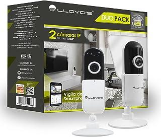 Lloyd's 2 Pack Cámaras IP Inteligentes WiFi para Interior Full HD 1080p con Base Ajustable Manual