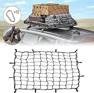 Voodonala 3.6'x3.6' Bungee Cargo Net Stretches to 7.6'x7.6' for Rooftop Cargo Rack for SUV Truck, Trailer, Boat, or RV