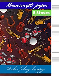 Manuscript paper 8 staves Pattern, Liquid, Wave pattern ,Fire cover, 8 staves per page 100 pages – Large (8.5 x 11 inches)