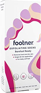 Footner Exfoliating Socks, Foot Mask, Foot Peel, At Home Pedicure to Remove Dry and Hard Skin
