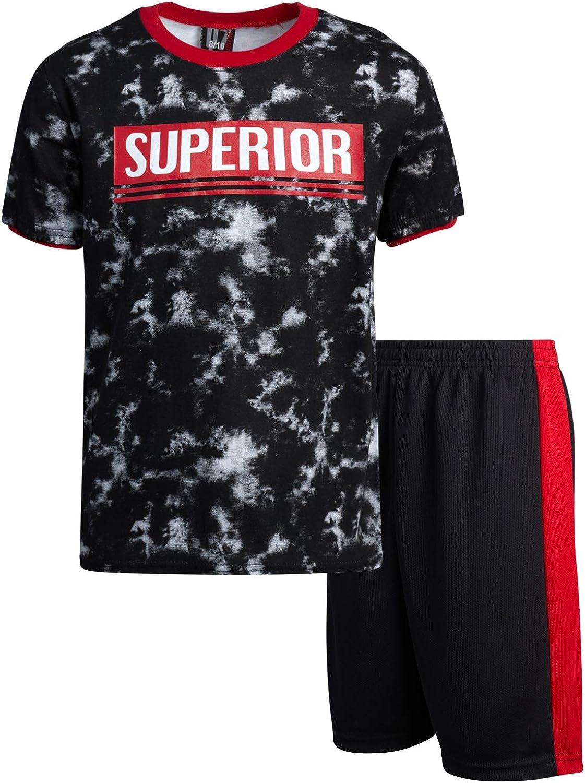 Quad Seven Boys' 2-Piece Performance Mesh Basketball Short and T-Shirt Set