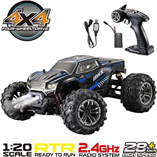 Hosim 1:20 Scale Remote Control Car 9145, 28km/h Fast Speed All Terrain RC Truck,4x4 Off-Road RC Monster Truck, 4WD 2.4Ghz Radio Controlled Electric Hobby RC Car for Kids and Adults (Blue)