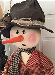 Primitive Folk Art Farmhouse Christmas Snowman