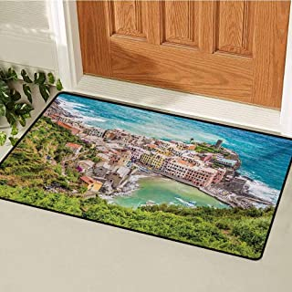 GUUVOR Coastal Inlet Outdoor Door mat View of Vernezza Famous Fisherman Village Cinque Terre Italy Ligurian Sea Artwork Catch dust Snow and mud W23.6 x L35.4 Inch Multicolor