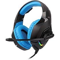 ZEBRONICS Zeb-Rush Wired Premium Gaming Headphone with RGB Lights and 40mm Neodymium Drivers (Blue)