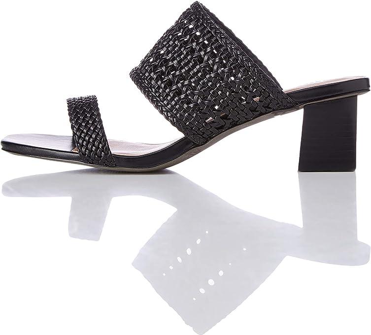 Marca Amazon - find. Two Band Woven Sandal - Sandalias con punta abierta Mujer