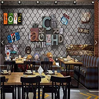 ZJJBH Papel Pintado Autoadhesivo (W)450X(H)300Cm Viento Industrial Vintage Letras Metálicas Europeas Papel Pintado De Restaurante Gran Foto Café 3D Mural Oficina Gimnasio Tienda Pasillo Estudio Pared