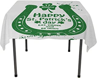 St. Patricks Day Table Cloths Spill Proof Eat Drink and be Irish March 17th Celebration with Horseshoe and Shamrock Art Green Camper Picnic Table Cloth Spring/Summer/Party/Picnic 50 by 80