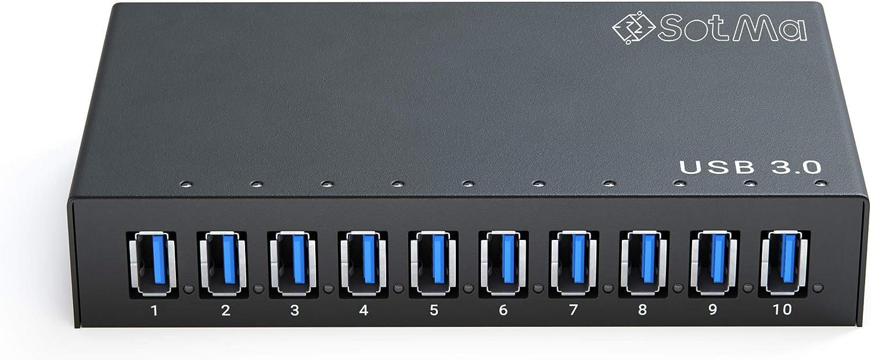 USB 10 Port Hub - Powered USB 3.0 Hub - Aluminum USB Hub -USB Splitter Hub 12V 5A 60W Power Adapter
