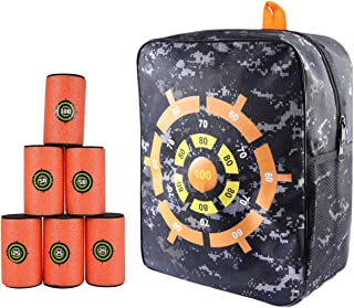 Target Pouch Storage Carry Equipment Bag Accessories Set with 6Pcs Foam Shooting Targets Compatible with Nerf N-Strike Elite, Mega, and Rival Series Guns