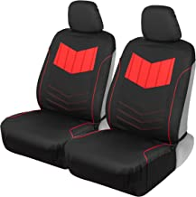 Motor Trend MTSC304 Red ComfortPlush PU Leather All Protection Sideless Seat Covers for Car Auto (Sedan Truck SUV Minivan) – Front 2pc