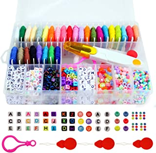 Friendship Bracelet Making Beads Kit, Letter Beads, 22 Multi-Color Embroidery Floss
