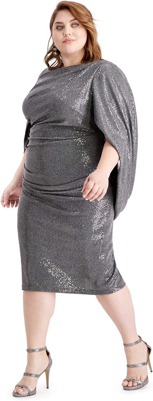 Betsy & Adam Women's Plus Size Sequined Drape-Sleeve Sheath Dress