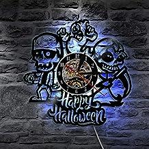 FDGFDG Happy Halloween Vinyl Record Wall Clock s Led Lighting Lámpara de Pared Vintage LP Wall Art Decoración para el hogar Regalo para niños