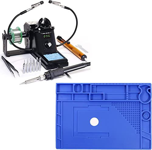 """popular YIHUA 926 III Digital Soldering Iron Station (black) bundle with sale 17.32"""" x 12.20"""" M180 Electronic Repair discount Mat Bundle with Iron holder, Soldering Cleaning Kit and Accessories (13 Items) online"""