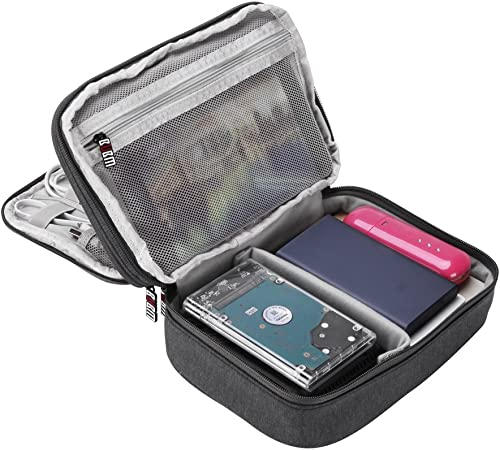 GHB Electronic Accessories Bag BUBM Gray Double Layer Travel Organizer for Men Carry Case for Cables Chargers Power B...