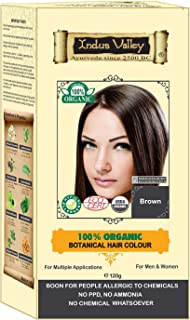 Indus Valley 100% Botanical 100% Organic Brown Hair Color For Allergy Sufferers, Pregnant women, Lactating women & For sensitive skin people- 120 gm